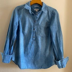 Merona Blue Jean Long Sleeve Shirt (Small)